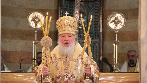 Патриарх Московский и всея Руси Кирилл во время Божественной литургии в Успенском кафедральном соборе в Дамаске