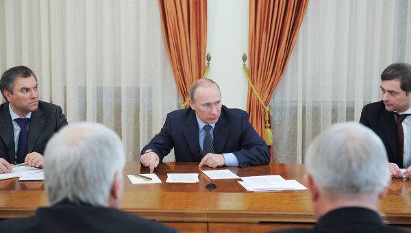 Премьер-министр РФ В.Путин провел встречу с руководством фракции Единая Россия