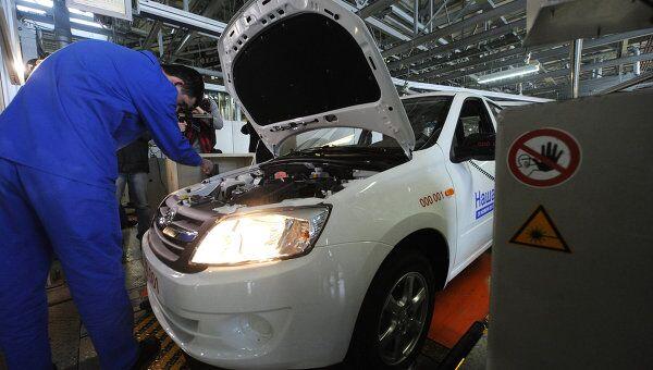 Цех сборки автомобилей Лада Гранта на заводе ОАО АвтоВАЗ, архивное фото