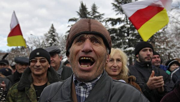 Митинг сторонников А.Джиоевой на центральной площади Цхинвали
