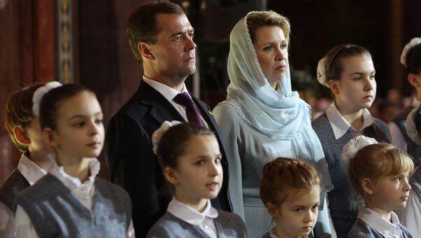 Президент РФ Д.Медведев на Рождественской службе в храме Христа Спасителя