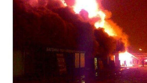 Пожар на складе в Люберецком районе Подмосковья