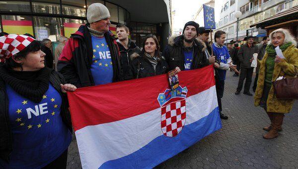 Протесты в Хорватии против вступления в ЕС