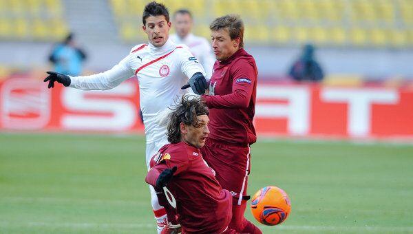Игровой момент матча Рубин - Олимпиакос