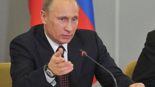 Премьер-министр РФ Владимир Путин на встрече в Доме ученых в городе Саров