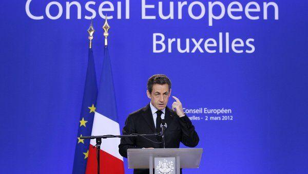 Президент Франции Николя Саркози на пресс-конференции в конце саммита Евросоюза в Брюсселе