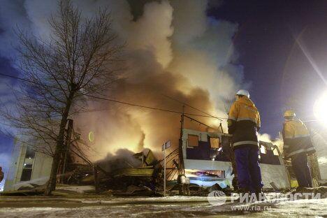 Пожар в гипермаркете К- Раута в Петербурге