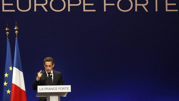 Президент Франции Николя Саркози выступает с предвыборной речью в Страсбурге