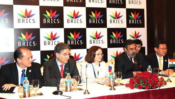 Министра экономического развития Эльвира Набиуллина на брифинге второго Делового  форума БРИКС
