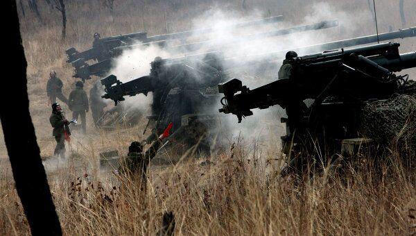 Стрельба из самоходных пушек Гиацинт.