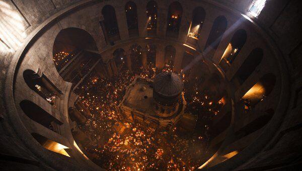 Схождение Благодатного огня в храме Гроба Господня в Иерусалиме