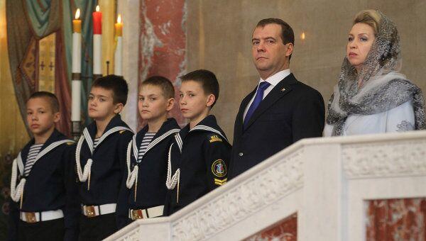 Президент РФ Д.Медведев с супругой Светланой присутствовали на церемонии освящения Морского собора в Кронштадте
