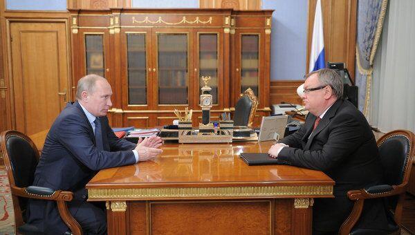 Встреча Владимира Путина с Андреем Костиным