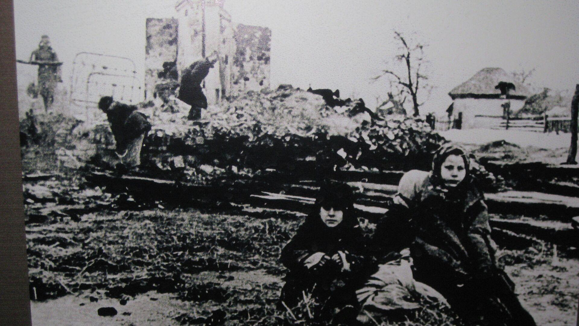 Местные жители на пепелище разрушенной фашистами деревни - РИА Новости, 1920, 20.11.2020