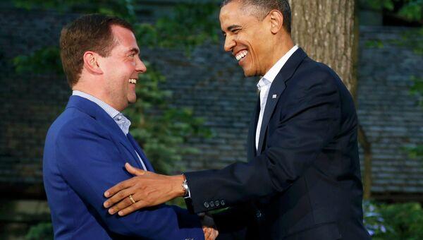 Дмитрий Медведев и Барак Обама на саммите G8 в Кэмп-Дэвиде