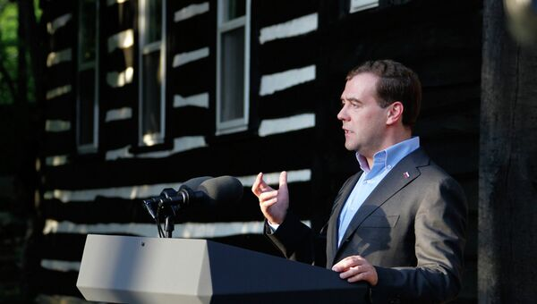 Дмитрий Медведев на пресс-конференции по итогам саммита G8 в Кэмп-Дэвиде