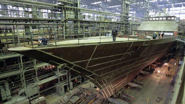 Строительство корвета проекта 20380 Стойкий на предприятии Северная верфь. Архивное фото