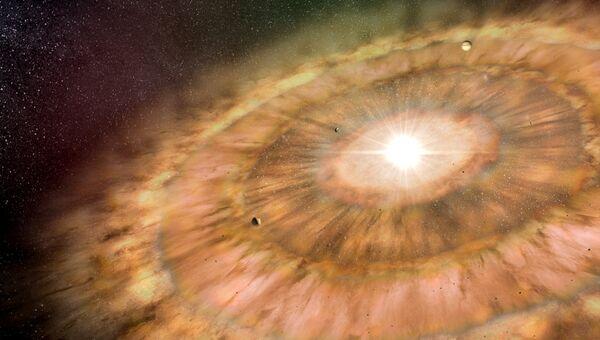 Протопланетное облако при формировании звезды и планет в представлении художника