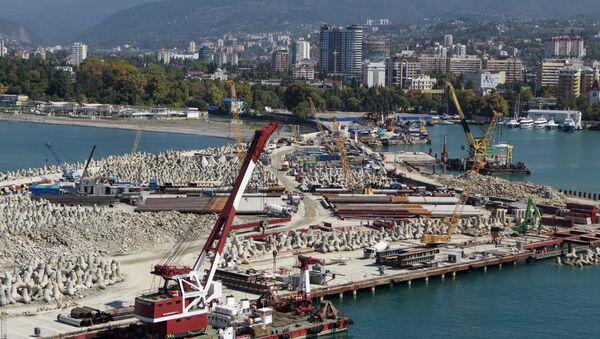 Строительство морского порта в Сочи, архивное фото