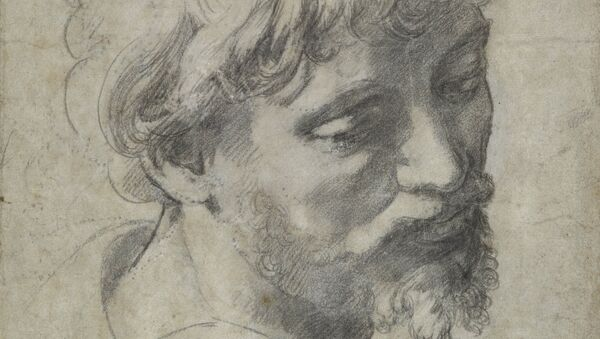 Рафаэль, подготовительный рисунок углем Голова молодого апостола (1519-1520 гг.)