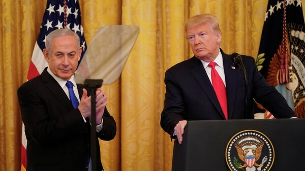 Президент США Дональд Трамп и премьер-министр Израиля Биньямин Нетаньяху во время совместной пресс-конференции в Вашингтоне. 28 января 2020