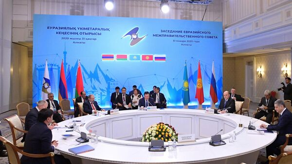 Председатель правительства РФ Михаил Мишустин на заседании Евразийского межправительственного совета в Казахстане