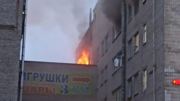Пожар в здании Лениздата в Санкт-Петербурге
