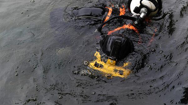Водолаз погружается под воду для очистки Патриарших прудов в Москве