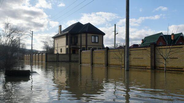 Затопленная улица в городе Горячий ключ Краснодарского края