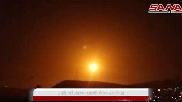 Видео отражения сирийской ПВО ракетного удара по Дамаску