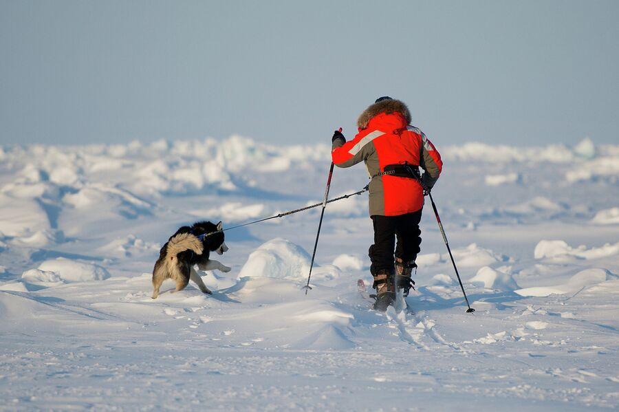 Российский путешественник Виктор Симонов на Северном полюсе в рамках экспедиции Карелия – Северный Полюс – Гренландия