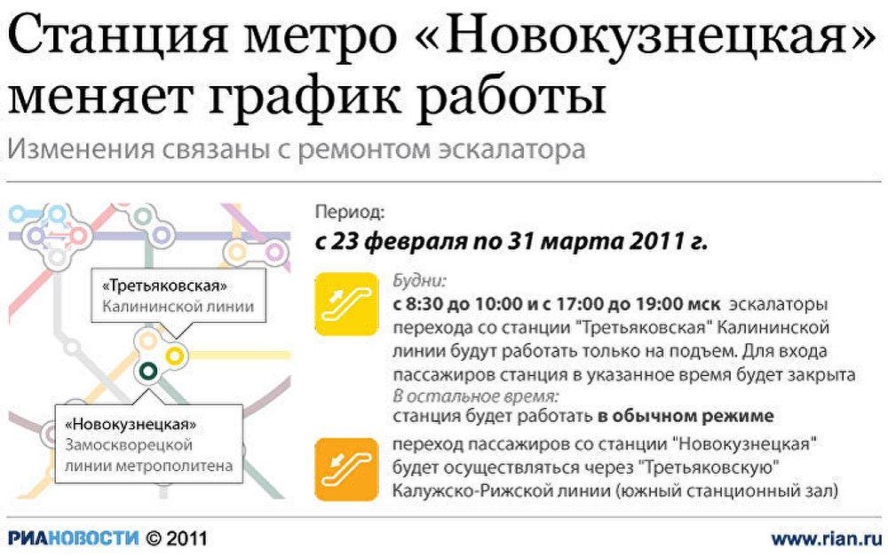 Станция метро Новокузнецкая меняет график работы