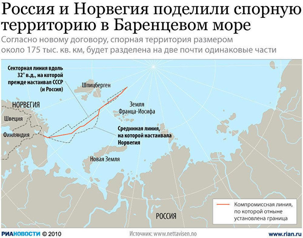 Россия и Норвегия поделили спорную территорию в Баренцевом море