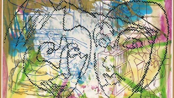 Работа, представленная на выставке гуашей Зигмара Польке в галерее 16thLINE