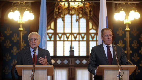 Встреча С.Лаврова со спецпосланником ООН по Сирии Л. Брахими. Архив