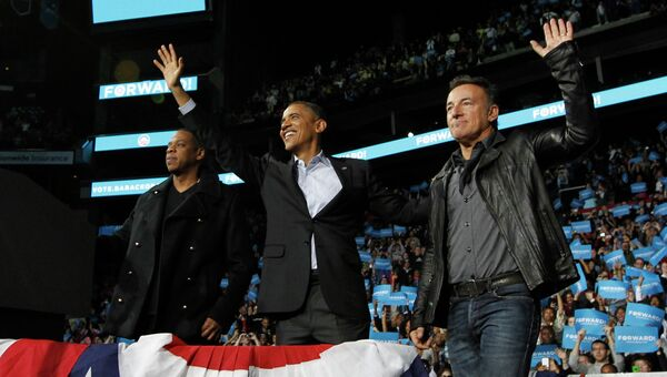 Барак Обама в компании Брюса Спрингстина и Jay-Z