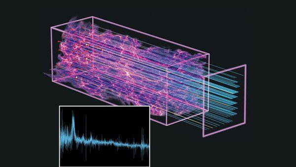 Свет далеких квазаров, проходящий через скопления водорода на пути к Земле