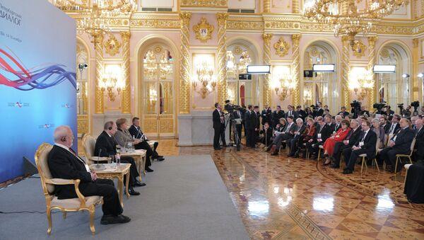 В.Путин и А.Меркель на XII форуме Петербургский диалог