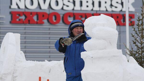 Чемпионат мира по снежной скульптуре в рамках Всемирного форума снега в Новосибирске