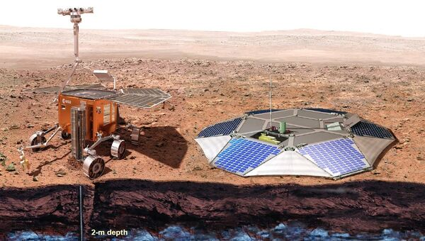 Марсоход и посадочная платформа европейско-российской миссии ЭкзоМарс. Архивное фото