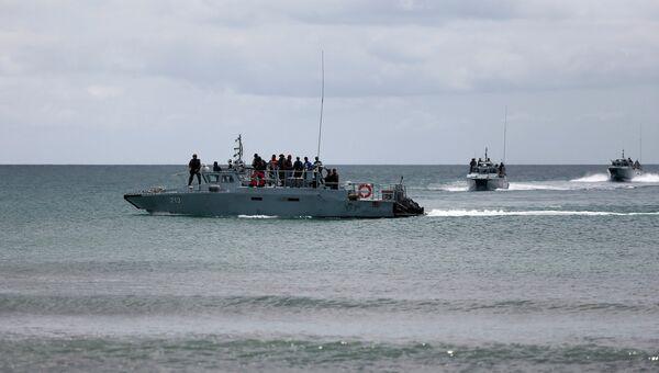 Патруль на море у места высадки боевиков в штате Сабах