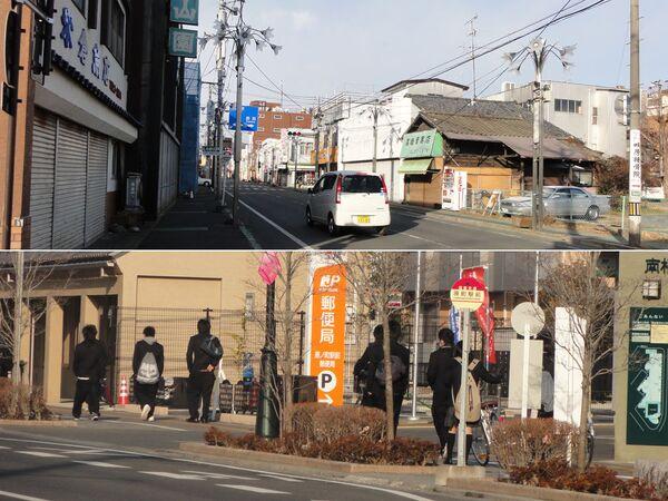 Фукусима, Минамисома, февраль 2012 года (вверху) / февраль 2013 года (внизу)