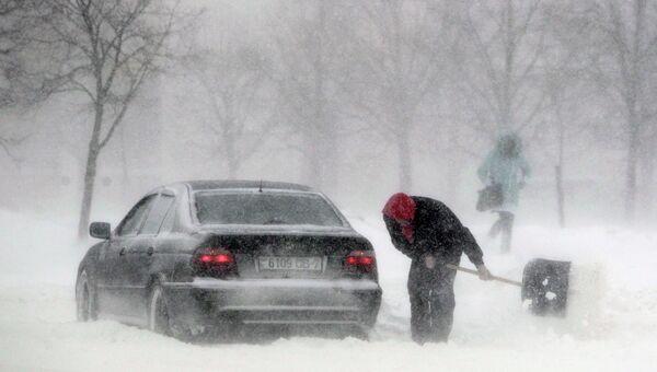 Снежные заносы на дорогах Белоруссии