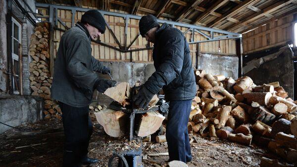 Рабочие перерабатывают на дрова отходы производства на лесопромышленном предприятии. Архивное фото