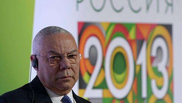 Генерал США в отставке, бывший Госсекретарь США Колин Пауэлл на ежегодном Форуме Россия 2013