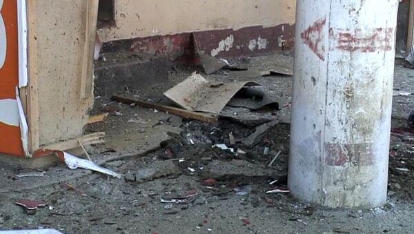 Момент взрыва в центре Махачкалы на записи камеры наблюдения