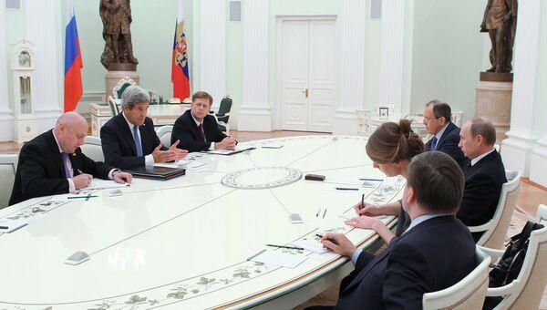Встреча президента РФ В.Путина с Д.Керри в Кремле
