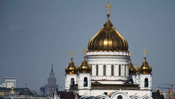 Вид на Храм Христа Спасителя и центр Москвы