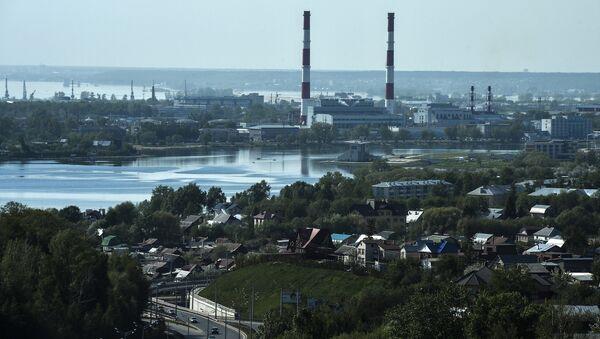 Вид на город из здания Международного Центра в Казани. Архивное фото