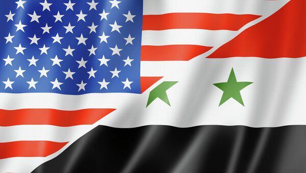 Флаги США и Сирии. Архивное фото